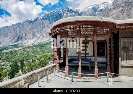 Baltit fort in Karimabad, Pakistan with a view of the Hunza valley - Stock Photo