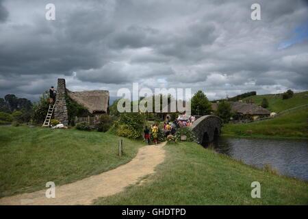 Hobbiton village, New Zealand - Stock Photo