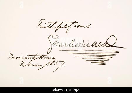 Charles Dickens, 1812 - 1870. English novelist.  Hand writing sample. - Stock Photo