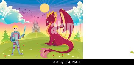 Cartoon knight with dragon. A castle in the background. - Stock Photo