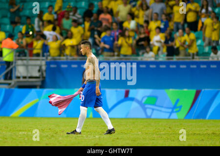 Salvador, Brazil. 10th August, 2016. OLYMPICS 2016 FOOTBALL SALVADOR - Neymar at the end of the match between Brazil - Stock Photo