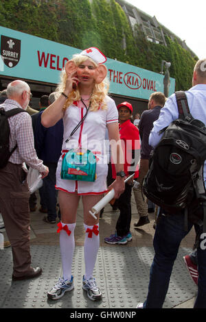 Vauxhall London UK. 11th August 2016. A Cricket fan dressed as a nurse  arrives for the fourth test match between - Stock Photo