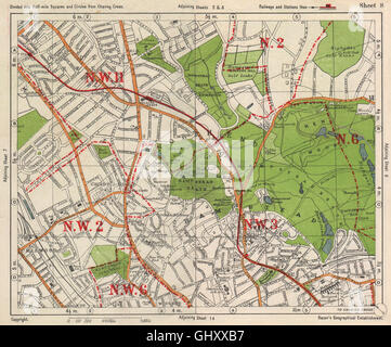NW LONDON. Golders Green Hampstead Child's Hill Cricklewood. BACON, 1938 map - Stock Photo