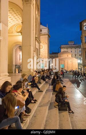 Piazza Andrea Mantegna in Mantua (Mantova) at night, Lombardy. Italy - Stock Photo