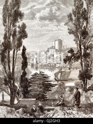 Rumelihisarı, Rumelian Castle or Roumeli Hissar Castle, European side of the Bosphorus, Istanbul, Turkey, 18th century - Stock Photo