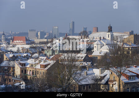 Vilnius panorama in winter. Lithuania - Stock Photo