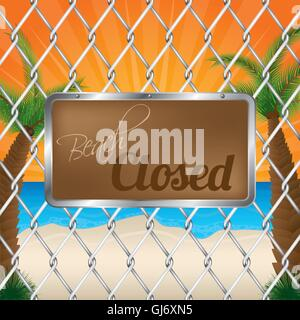 Beach closed sign on wired fence - Stock Photo