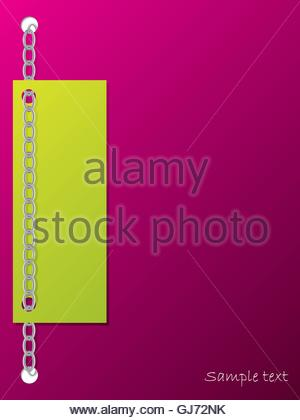 Green card chained to the background - Stock Photo