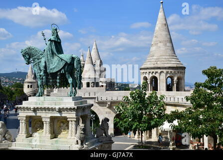 Fisherman's Bastion and statue of Saint Stephen in Budapest Hungary - Stock Photo