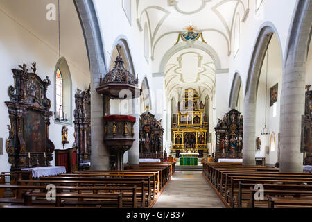 Interior of the Church Saint-Maurice at the Place des Augustins, Fribourg, Switzerland - Stock Photo