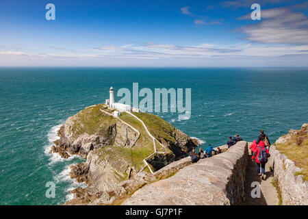 Tourists at South Stack Lighthouse, Anglesey, Wales, UK - Stock Photo
