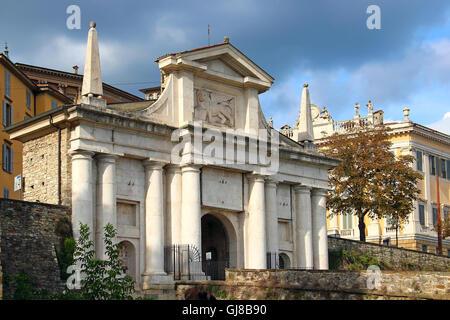 Saint Giacomo Gate (Porta San Giacomo) - entrance to the upper city of Bergamo, Italy - Stock Photo