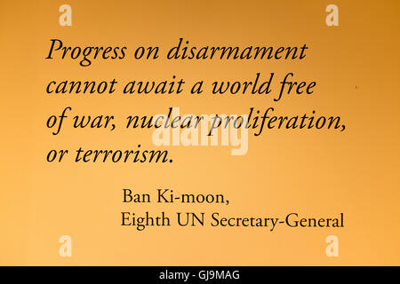 New York City USA United Nations Building. Quote by UN secretary General Ban Ki-Moon. - Stock Photo