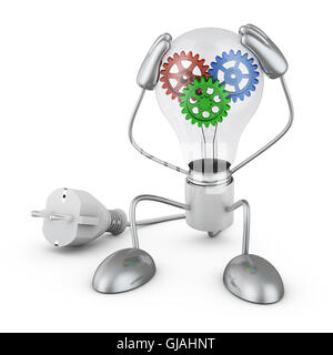Incandescent holds his hands behind his head, inside which colorful gears. 3D render. - Stock Photo