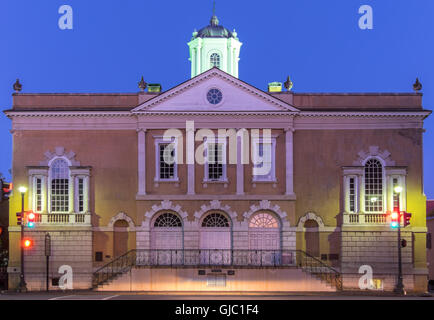 The Old Exchange and Provost Dungeon at Twilight, Charleston, South Carolina - Stock Photo