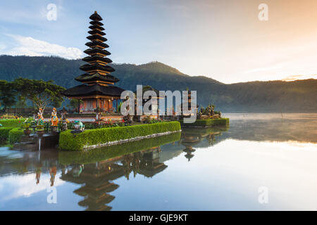 Pura Ulun Danu Bratan at sunrise, famous temple on the lake, Bedugul, Bali, Indonesia. - Stock Photo