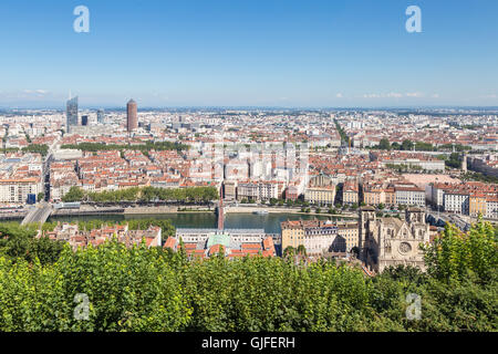 Aerial view of Lyon, the third largest city in France with the Rhone river goes through its hitoric center - Stock Photo