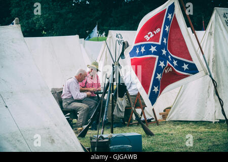 Confederate Soldiers in an encampment of a American Civil war reenactment at Spetchley Park, Worcestershire, England - Stock Photo