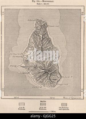 Montserrat. West Indies. The Lesser Antilles, 1885 antique map - Stock Photo