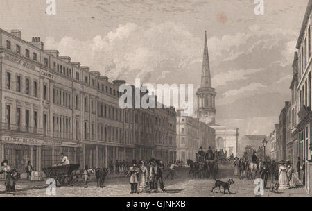 Part of Lord Street. St. George's Church, Derby Square. Liverpool. HARWOOD, 1829 - Stock Photo