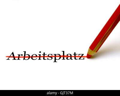 workplace dismantling red pencil - Stock Photo