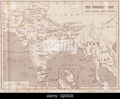'The Gorgeous East'. India, Burma, Siam, Malaya & Ceylon. Indochina, 1913 map - Stock Photo