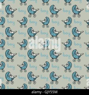 seamless pattern with baby carriage - Stock Photo