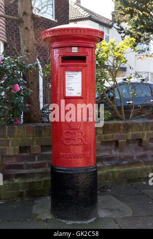 Very rare post box bearing the Royal cipher of Edward VIII, Heaton Mersey, Stockport, UK. - Stock Photo