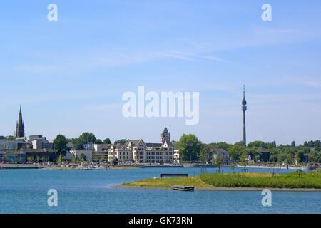 the new phoenix lake in dortmund - Stock Photo