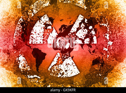 grunge look nuclear map - Stock Photo