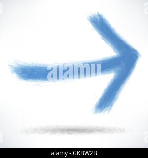 Blue arrow sign painted by brush stroke with drop shadow on white background. Drawing created in ink sketch handmade - Stock Photo
