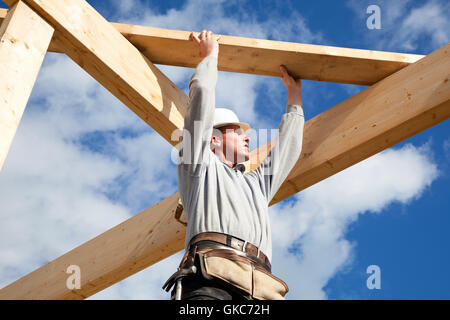 timber construction worker scene - Stock Photo