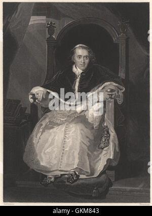 The Roman Pontiff (Pope Pius VII). Catholic church, antique print 1840 - Stock Photo