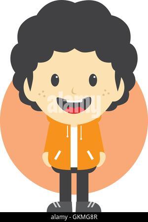 adorable boy cartoon character - Stock Photo