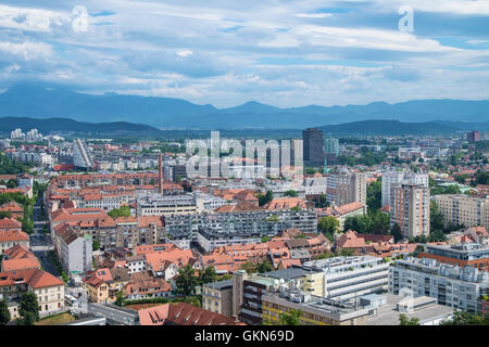 View on City of Ljubljana from the castle, capital of Slovenia - Stock Photo