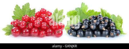 Red and black currant currants berries fresh fruits fruit isolated on a white background - Stock Photo