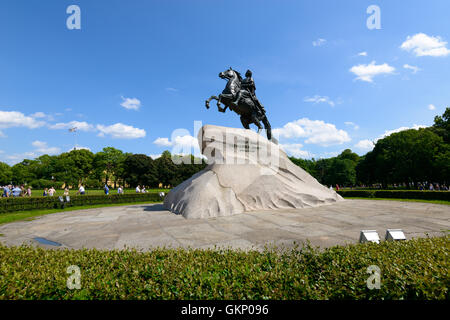 SAINT PETERSBURG, RUSSIA - JUNE 17, 2016: Monument of Russian emperor Peter the Great, known as The Bronze Horseman, - Stock Photo