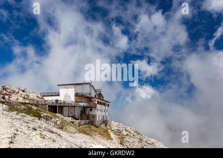 Rosetta refuge, Paneveggio Pale di San Martino Park, Trento province, Trentino, Italy - Stock Photo