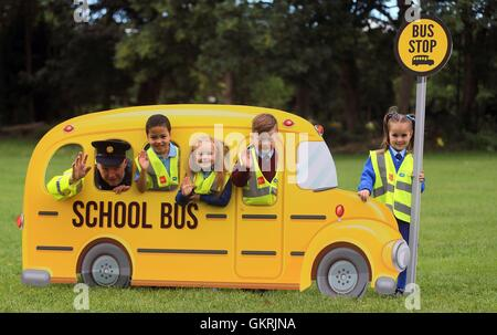 (left-right) Superintendent Con O'Donoghue Garda National Traffic Bureau, Oisin Cully, Sophie Bracken, Rocco Hill - Stock Photo
