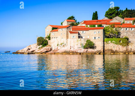 Sveti Stefan, Montenegro. View with fantastic small island and resort on the Adriatic Sea coast, Budva city region. - Stock Photo