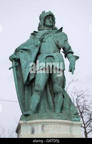 King Matthias Corvinus. Statue by Hungarian sculptor Gyorgy Zala on the Millennium Monument in the Heroes Square - Stock Photo