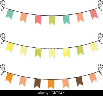 Cute flags clipart for baby shower set isolated on white - Stock Photo