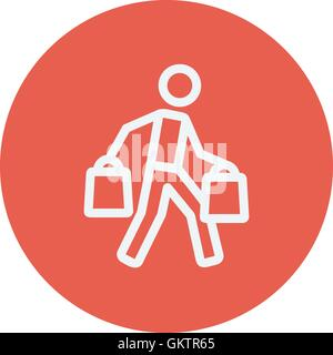 Man carrying shopping bags thin line icon - Stock Photo