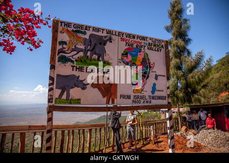 A sign illustrating what one can find in the rift valley - Stock Photo