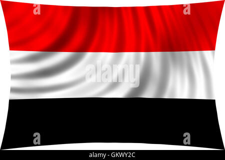 Flag of Yemen waving in wind isolated on white background. Yemeni national flag. Patriotic design. 3d rendered illustration - Stock Photo