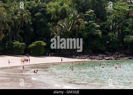 People enjoying the beach, Manuel Antonio national park, Pacific coast, Costa Rica, Central America - Stock Photo