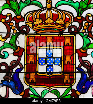 BATALHA, PORTUGAL - JULY 24, 2016: Stained Glass depicting the personal Coat of Arms of King John I of Portugal - Stock Photo