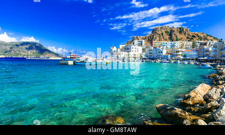 beautiful places of Greece - Pigadia town in Karpathos island - Stock Photo