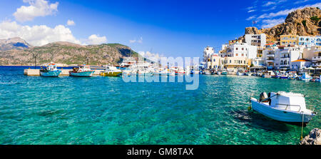 beautiful places of Greece - Pigadia town in Karpathos island - Stock Photo