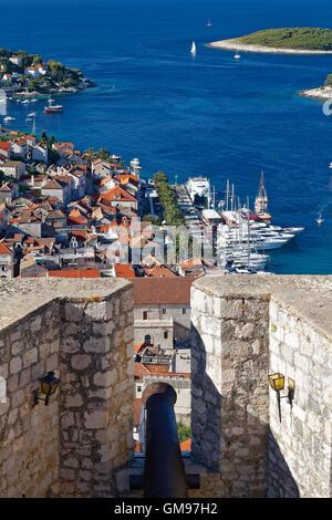 Croatia, Hvar Island, Hvar and harbour, seen from castle Spanjola - Stock Photo